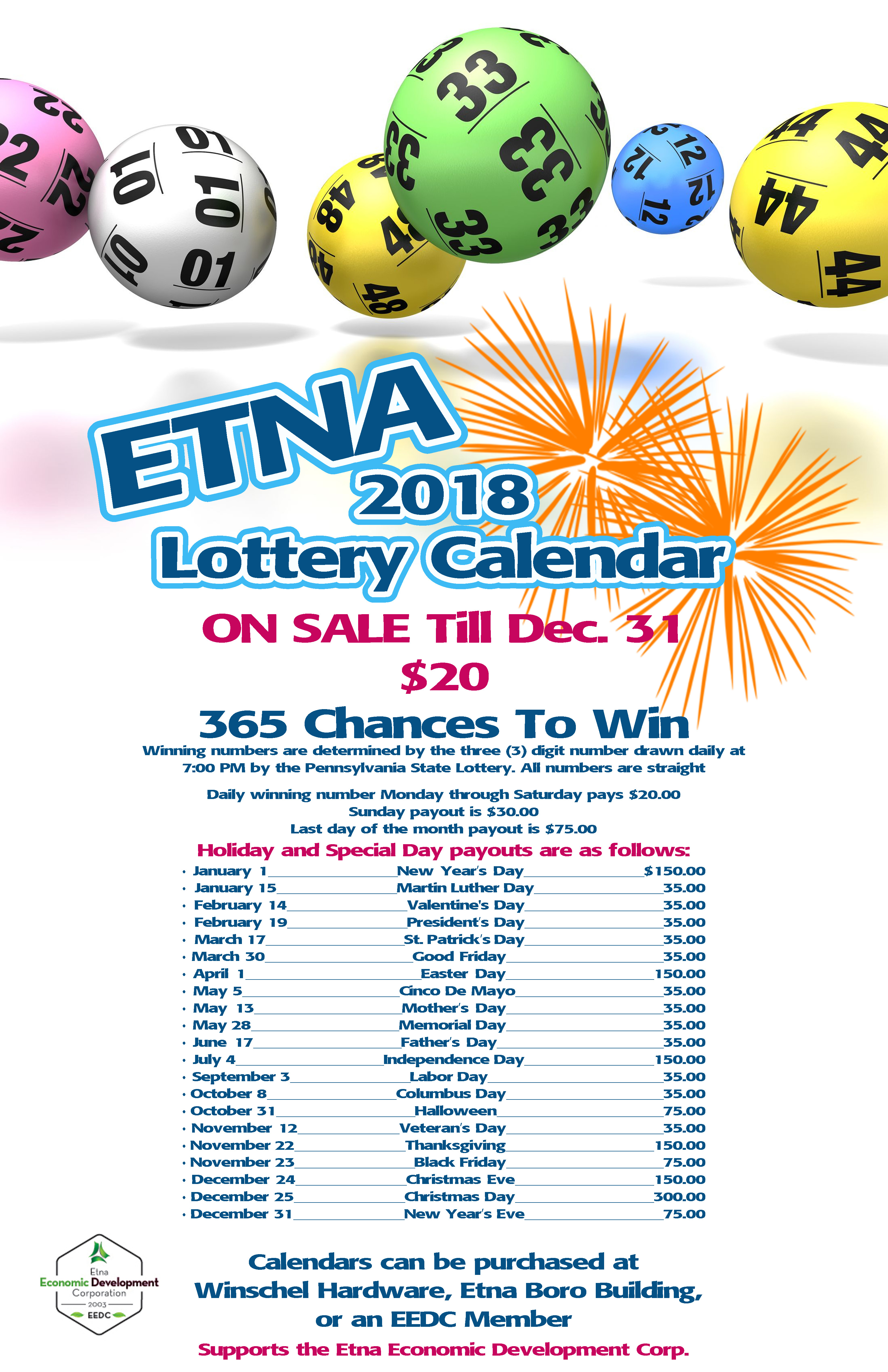 EEDC 2018 Lottery Calendar Sale